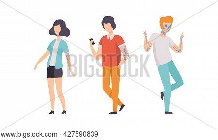 Tattooed Or Inked Man And Woman In Standing Pose Vector Set