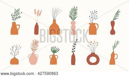 Set Of Clay Vases With Green And Dry Plants. Branches And Twigs In Earthen Jug. Minimalistic Foliage