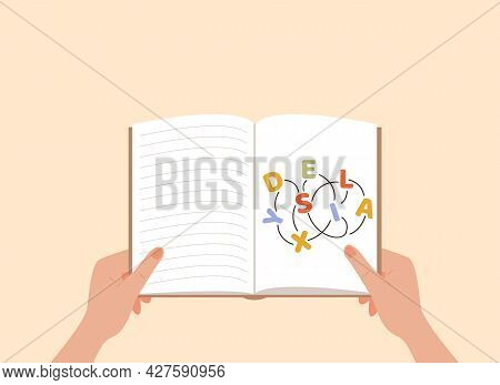 Dyslexia Concept. A Person Hands Holding A Book. Failing To Read. Learning Disability. Confused, Ent