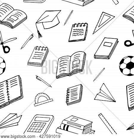 Back To School Seamless Pattern. Hand Drawn Doodle. Vector, Scandinavian, Nordic, Minimalism, Monoch