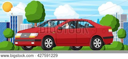 Modern Red Car And City Street With Green Trees. Sedan Vehicle With Driver And Passenger. Road Over