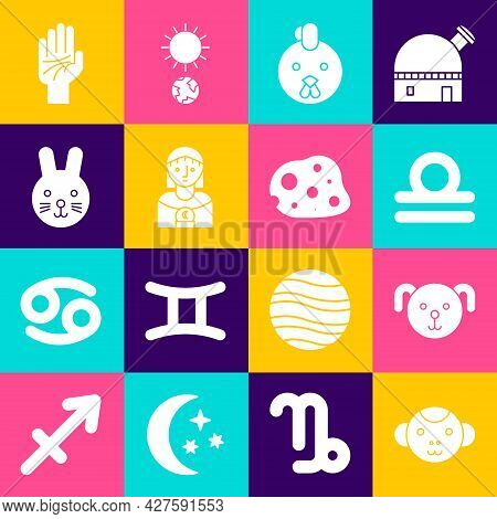 Set Monkey Zodiac, Dog, Libra, Rooster, Astrology Woman, Rabbit, Palmistry Of The Hand And Asteroid