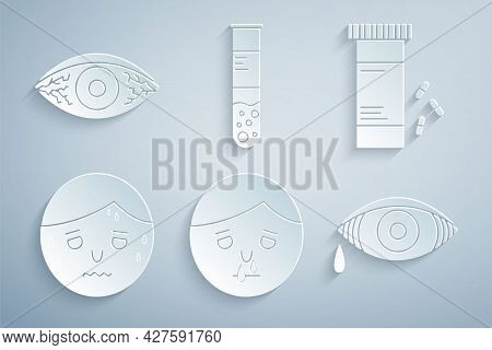 Set Runny Nose, Medicine Bottle And Pills, Man With Excessive Sweating, Reddish Eye Allergic Conjunc
