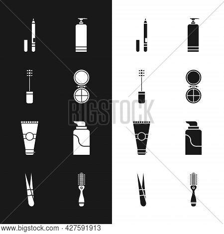 Set Makeup Powder With Mirror, Mascara Brush, Eyeliner, Eyebrow, Cream Cosmetic Tube, Lotion, Hairbr