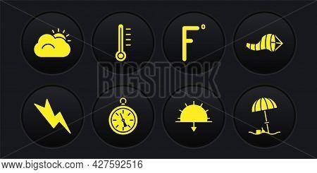 Set Lightning Bolt, Cone Meteorology Windsock Wind Vane, Compass, Sunset, Fahrenheit, Meteorology Th