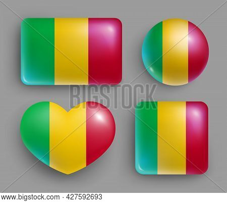 Set Of Glossy Buttons With Mali Country Flag. Western Africa Republic National Flag, Shiny Geometric