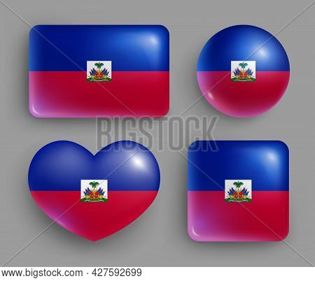 Set Of Glossy Buttons With Haiti Country Flag. American Island State National Flag, Shiny Geometric