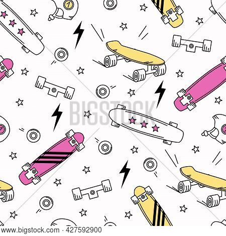 Skateboards, Lightning Bolts And Stars On A White Background Seamless Pattern. Vector Illustration F