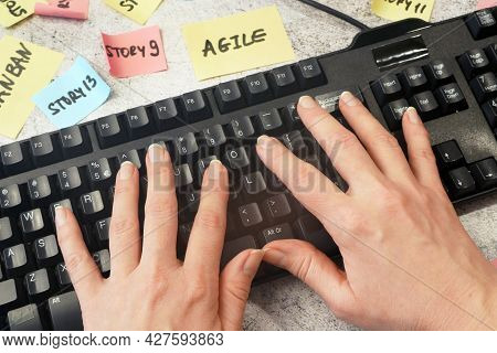 Keyboard And Software Scrum Agile Paper Task, Agile Software Development Methodologies Concept, Clos