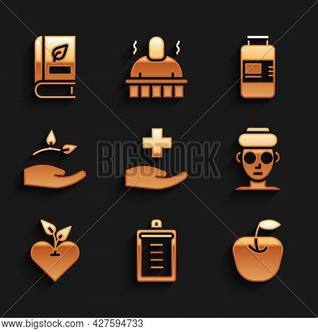 Set Cross Hospital Medical, Clipboard With Checklist, Apple, Facial Cosmetic Mask, Heart, Leaf In Ha