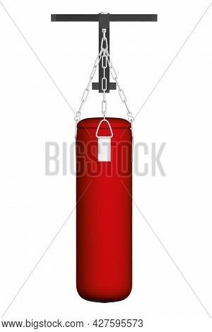 Red Punching Bag Hanging On Chains Attached To Fasteners Isolated On White Background. 3d. Front Vie