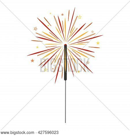 Sparkler Isolated On A White Background, Color Vector Illustration.