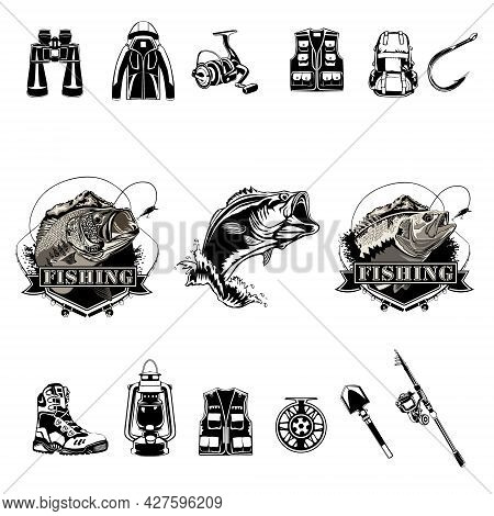 Fishing Set. Camping Theme. Bass Fish. Recreation Symbols Collection. Equipment For Rest. Fishing To