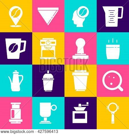 Set Coffee Filter Holder, Cup, Barista, Machine, Location With Coffee Bean And Tamper Icon. Vector