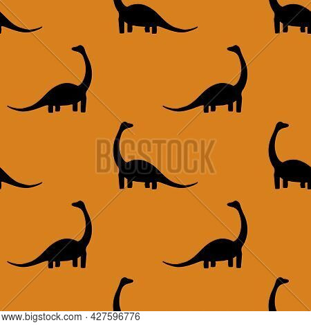 Seamless Pattern With Dinosaurs On An Orange Background. Print Of Black Diplodocus Silhouettes