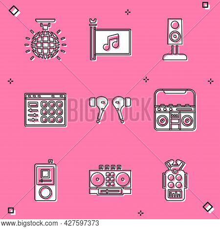 Set Disco Ball, Music Festival Flag, Stereo Speaker, Drum Machine, Air Headphones, Home Stereo With