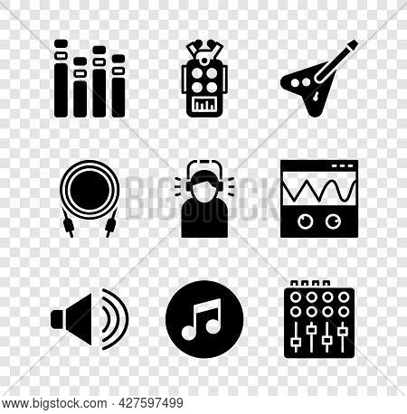 Set Music Equalizer, Microphone, Electric Bass Guitar, Speaker Volume, Note, Tone, Sound Mixer Contr
