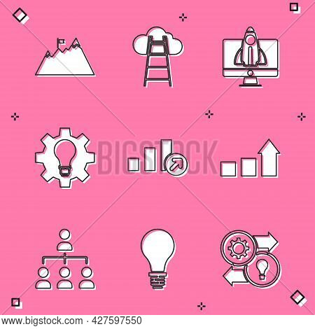 Set Mountains With Flag, Stair Finish, Startup Project Concept, Light Bulb And Gear, Financial Growt