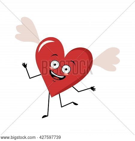 Cute Character Red Heart With Wings And Joyful Emotions, Smile Face, Dancing, Happy Eyes, Arms And L