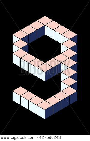 Number 9 From Cubes Isolated On Black Background. Pastel Pink And Blue Colors. Pixel, 8 Bit, Isometr