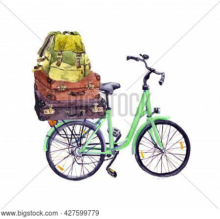 Bicycle With Travel Backpackes And Vintage Suitcases. Watercolor For Trip, Journey Design