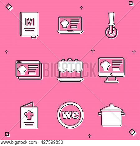 Set Restaurant Cafe Menu, Online Ordering And Delivery, Pizza Knife, Cake, Cookbook And Toilet Icon.