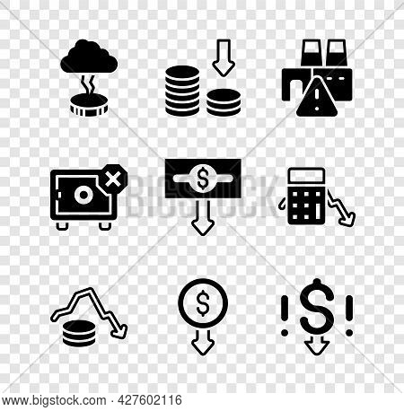 Set Storm, Dollar Rate Decrease, Shutdown Of Factory, Safe And Icon. Vector