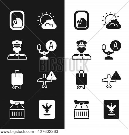 Set Aircraft Steering Helm, Pilot, Airplane Window, Sun And Cloud Weather, Suitcase, Warning Aircraf