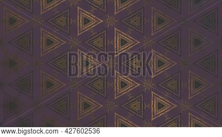 Geometric Abstract Textured Kaleidoscope Triangle Pattern In Gloomy Mood, Suitable For Halloween. Or
