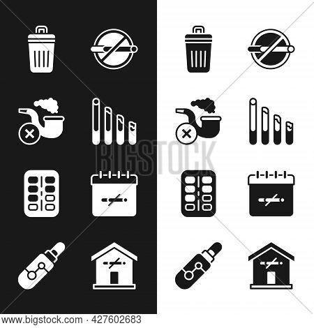 Set Smoking Cigarette, Pipe With Smoke, Trash Can, No Smoking, Nicotine Gum Blister Pack, Days, At H