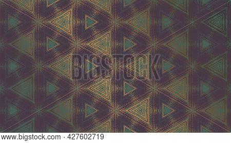 Geometric Abstract Textured Kaleidoscope Hexagon Pattern In Gloomy Mood, Suitable For Halloween. Orn
