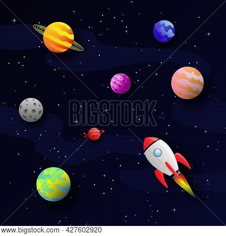 3d Vector Illustration Of Space In Paper Cut Style. Square Composition With Cartoon Planets And A Ro