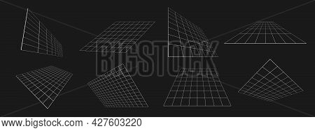 Set Of Retrofuturistic Perspective Grids At An Angle. Cyber Design Elements. Collection Of Grids In
