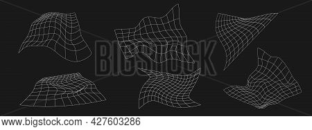 Set Of Retrofuturistic Perspective Liquid Distorted Grids. Cyber Design Elements. Collection Of Grid
