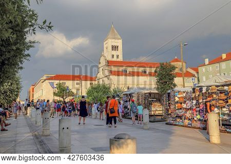 Zadar, Croatia - September 14, 2016: This Is A Market On The Old Town Square Near The Church Of St.