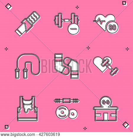 Set Protein Sport Bar, Dumbbell, Heart Rate, Jump Rope, Socks, With Heart, Sweaty Sleeveless T-shirt