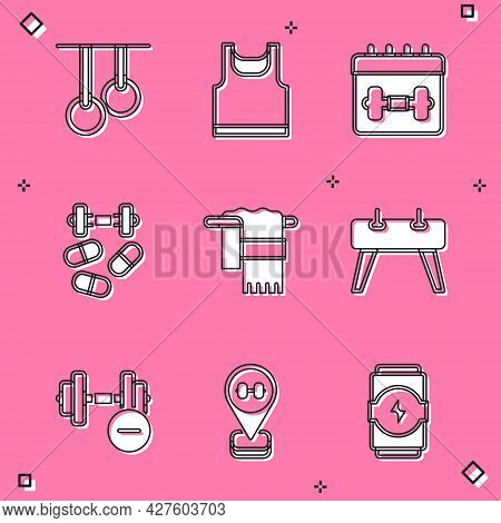 Set Gymnastic Rings, Sleeveless T-shirt, Calendar Fitness, Sports Doping With Dumbbell, Towel On Han