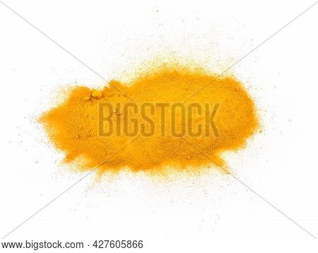 Top View Of Turmeric Powder Isolated On White Background