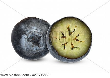 Blueberry And Half Blueberry Isolated On White Background