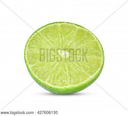 Half Lime, Lemon Isolated On White Background