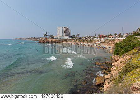 Playa Cala Cerrada Orihuela Spain Beautiful Small Beach Near La Zenia In Summer Sunshine Monday 1st