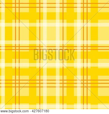 Seamless Pattern With Plaid Tartan Lumberjack Ornament. Warm Yellow Orange Beige Brown Gingham Buffa