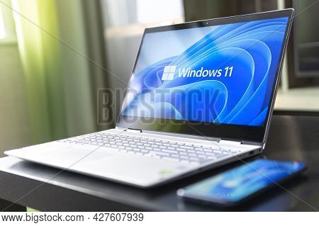 June 23, 2021. Barnaul, Russia. View Of The New Microsoft Windows 11 Logo On Computer Screen