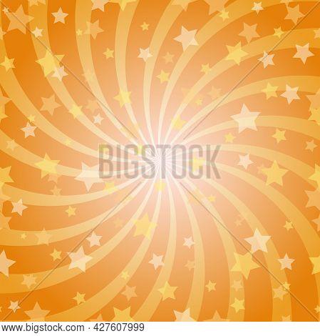 Sunlight Spiral Horizontal Background. Orange Color Burst Background With Shining Stars. Vector Illu