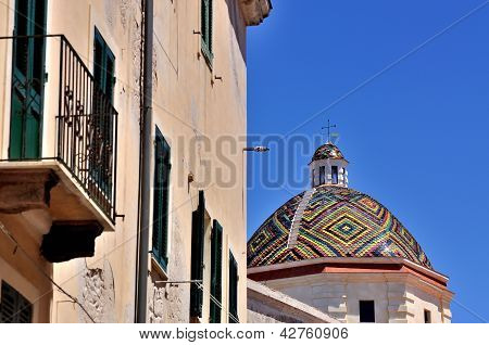 Dome Of The Church Of San Michele, Alghero, Sardinia, Italy