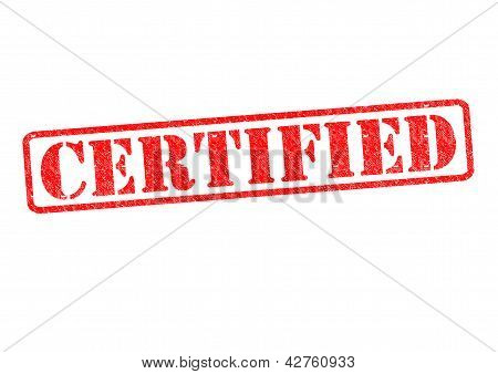 CERTIFIED rubber stamp over a white background. poster
