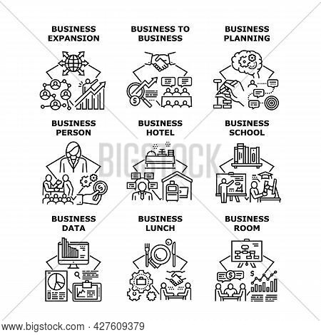 Business School Set Icons Vector Illustrations. Business School Education And Planning Room, Hotel L