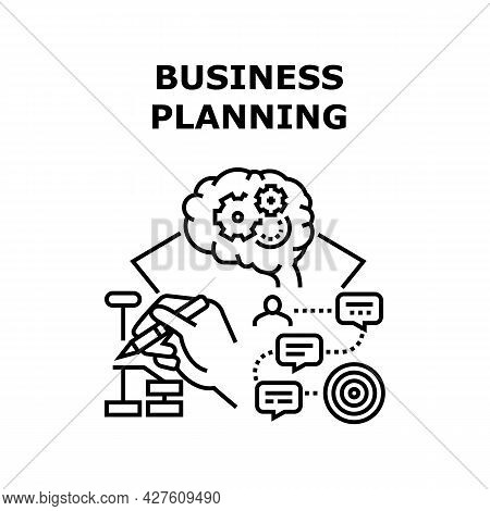 Business Planning Strategy Vector Icon Concept. Businessman Brain Thinking About Startup And Busines