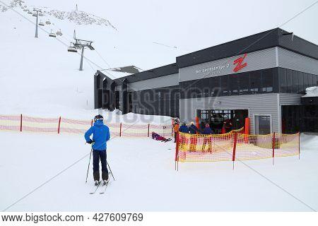 Hintertux, Austria - March 10, 2019: People Visit Hintertux Glacier Ski Resort In Tyrol Region, Aust