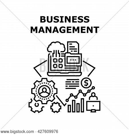 Business Management Planning Vector Icon Concept. Business Management And Monitoring Working Process